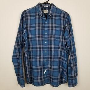 J Crew Lg Slim Button Down Blue Plaid Shirt
